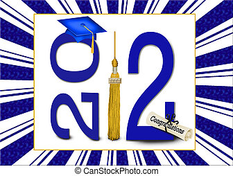 Class of 2012 Celebration - Blue graduation cap with gold...
