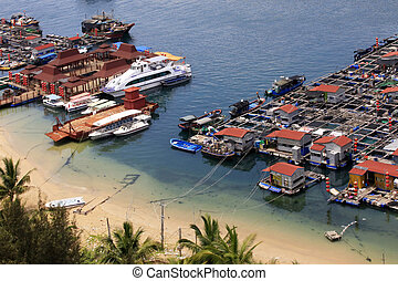 Village on the sea the gypsy Hainan China - A traditional...