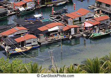 Village on the sea the gypsy. Hainan. China - A traditional...