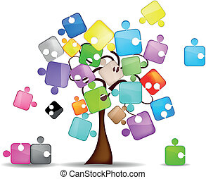tree and colorful puzzle