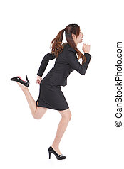 Running Business woman in full length isolated on white...