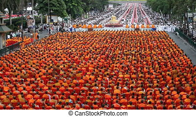 Monk Mass Alms Giving in Bangkok