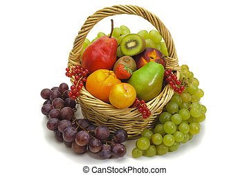 fresh fruits isolated over white background