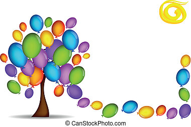 background tree with balloons