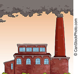 Factory - Gray smoke from a pipe factory vector illustration