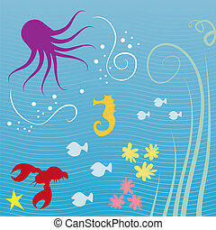 Sea Creatures - Various sea creatures underwater with lined...