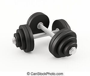 Set of dumbbells - 3D rendering of a set of dumbbells