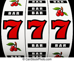 Jackpot on a slot machine - 3D rendering of a slot machine...