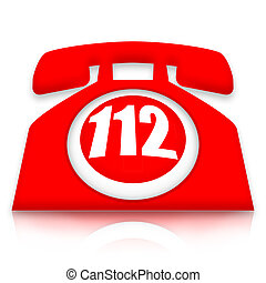 112 emergency phone - Red 112 emergency phone isolated on...