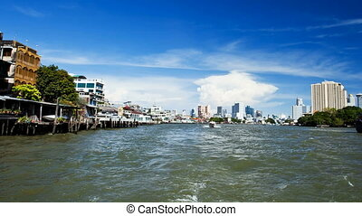 Timelapse - Bangkok river from boat - The Chao Phraya river...