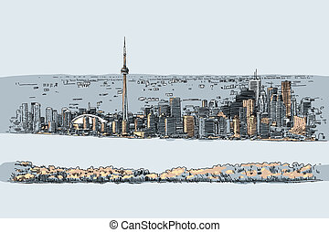 Downtown Toronto - An illustration of the downtown of the...