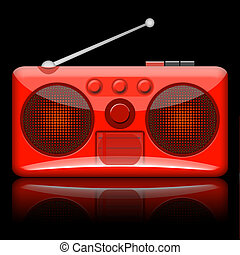Radio Retro - Retro radio illustration isolated on black...