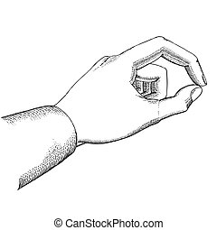 Man's hand holds drawn in the vintage style