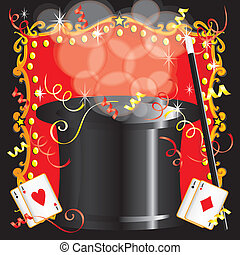 Magician's magic act birthday party invitation with magic...