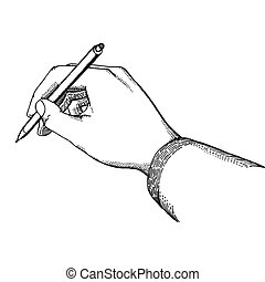Writing - Hand with a pen in vintage style