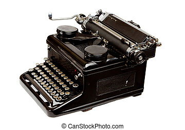 Old Style Typewriter Isolated on White - Old Style Dusty...