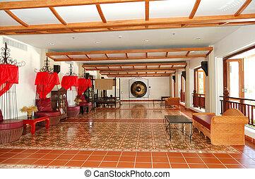 The lobby interior of luxury hotel, Phuket, Thailand