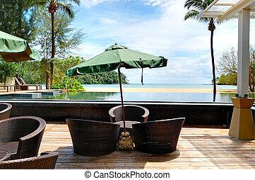 Outdoor restaurant at the luxury hotel, Phuket, Thailand