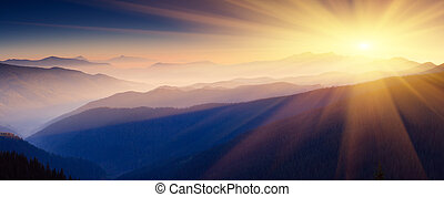 mountain landscape - Majestic sunset in the mountains...