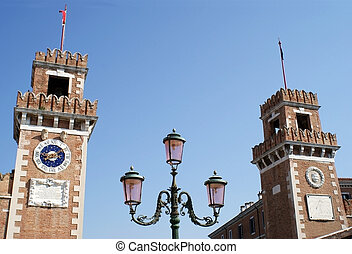 The Arsenal Towers, Venice, Italy - View of Street Lightiing...