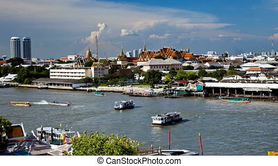 Timelapse - Bangkok river - View of Chao Phraya river and...