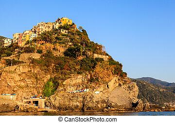 Sunset in the Village of Corniglia in Cinque Terre, Italy