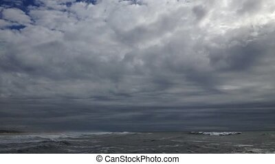 Waves on a stormy ocean - Timelapse of waves on a stormy...