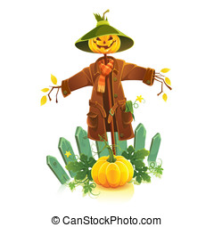 Scarecrow - Cartoon vector illustration of scarecrow...