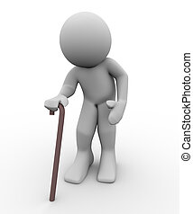 3d old man - 3d render of old man with walking stick. 3d...