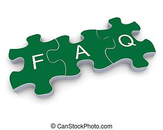 3d faq puzzle - 3d render of faq (frequently asked...