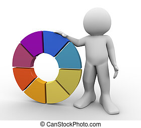 3d man with color wheel - 3d render of man with color wheel....