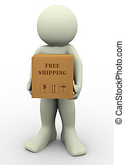 3d man free shipment - 3d render of man holding free...