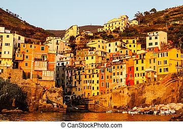 Sunset in the Village of Riomaggiore in Cinque Terre, Italy