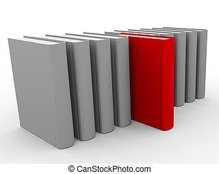 3d unique book - 3d render of red unique book