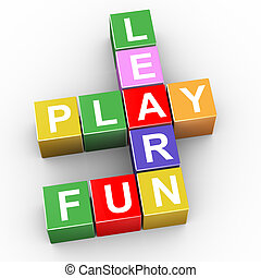 Crossword of learn, play and fun - 3d render of crossword of...