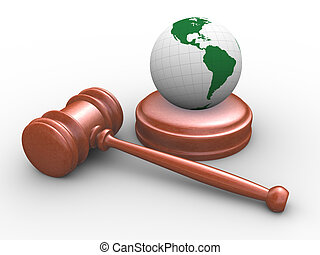 3d Judicial gavel and globe