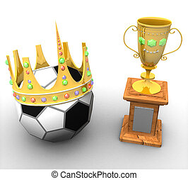 three-dimensional award with the ball and with a crown on a...