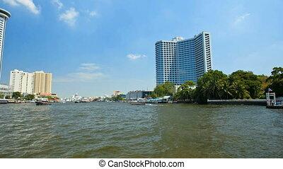 Timelapse - Bangkok river from boat