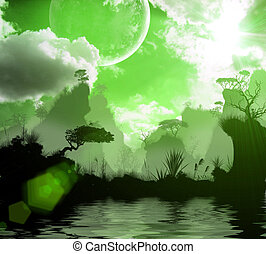3d nature, forest, lake, in the evening