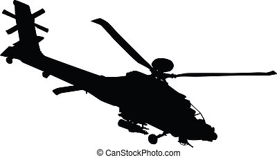 Helicopter - Vector silhouette of AH-64 Apache Longbow...
