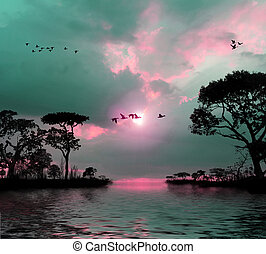 Flying birds in the sky, lakes, trees, sunset