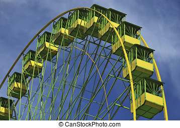 Ferris wheel in greens - Ferris wheel in green and yellow...