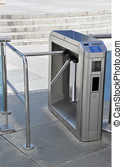 Turnstile - turnstile security access. Metal barrier for...
