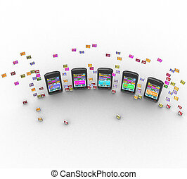 3D phones and symbols on a white background isolated