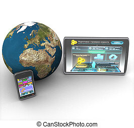 3D computer tablet, smartphone and land on white background isolated