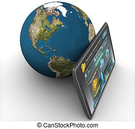 3D computer tablet and land on a white background isolated