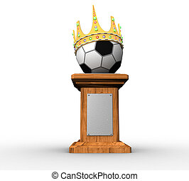 3d soccer ball on a pedestal with a crown on a white...