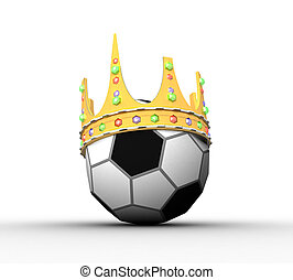 3d soccer ball with a crown on a white background isolated