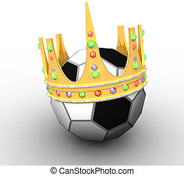 3D soccer ball with crown on white background isolated