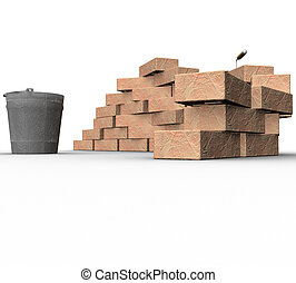 3d fragment of heap of bricks, trowel and bucket on white...
